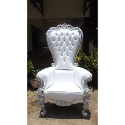 DECO PRIVE - D�cor �v�nementiel-DECO PRIVE-Trone royal pour mariage argent et imitation cuir