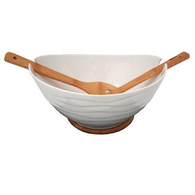 WHITE LABEL - Saladier-WHITE LABEL-Plat de service en porcelaine sur plateau en bambo