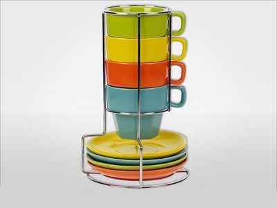 WHITE LABEL - Porte-tasses-WHITE LABEL-Ensemble de 4 mugs et soucoupes en grès avec suppo