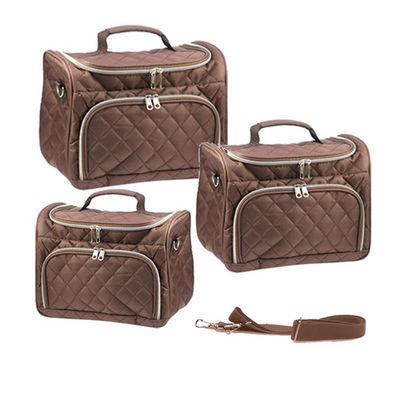 WHITE LABEL - Vanity case-WHITE LABEL-3 vanity Coco capitonnés bruns avec poche devant