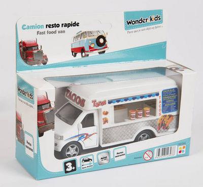 WONDER KIDS - Voiture miniature-WONDER KIDS-Camion marchand de tacos à rétro friction en métal