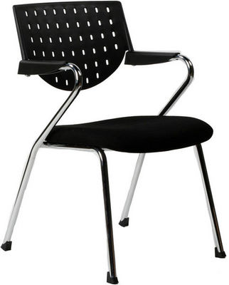 KOKOON DESIGN - Fauteuil d'accueil-KOKOON DESIGN-Fauteuil de bureau noir avec accoudoirs en fabric
