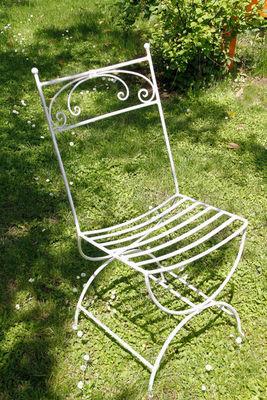 BARCLER - Chaise de jardin-BARCLER-Chaise daniela en fer forgé blanc vieilli