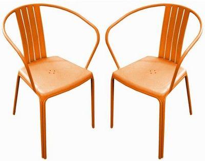 PROLOISIRS - Chaise de jardin-PROLOISIRS-Fauteuil empilable azuro en aluminium orange (par