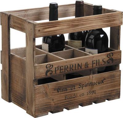 Aubry-Gaspard - Caisse à bouteilles-Aubry-Gaspard-Caisse à vin en bois 6 bouteilles 33x21x29cm