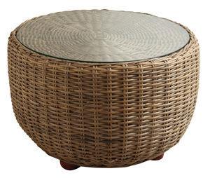 Aubry-Gaspard - Table basse ronde-Aubry-Gaspard-Table boule en Poelet gris et verre
