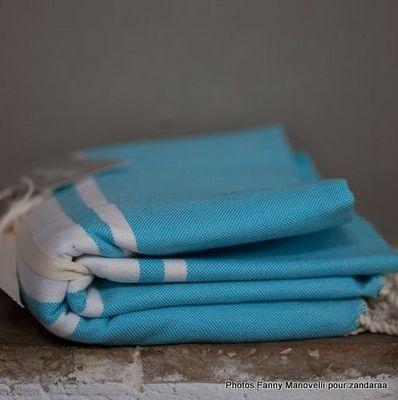 Zandaraa - Serviette de hammam fouta-Zandaraa-Fouta turquoise tissage à plat