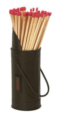 Aubry-Gaspard - Pierre allume-feu-Aubry-Gaspard-Seau en métal noir avec grattoir et allumettes 7,5