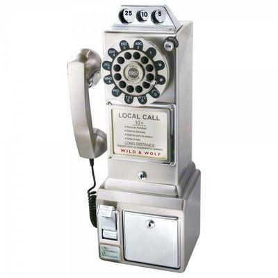 WHITE LABEL - Téléphone décoratif-WHITE LABEL-Téléphone mural rétro chrome