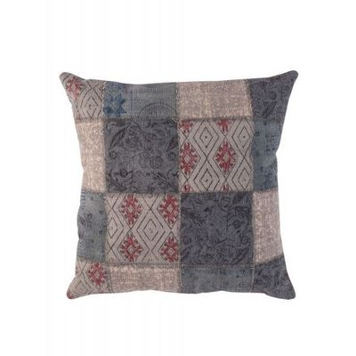 BLANC D'IVOIRE - Coussin carré-BLANC D'IVOIRE-NOE Patchwork bleu
