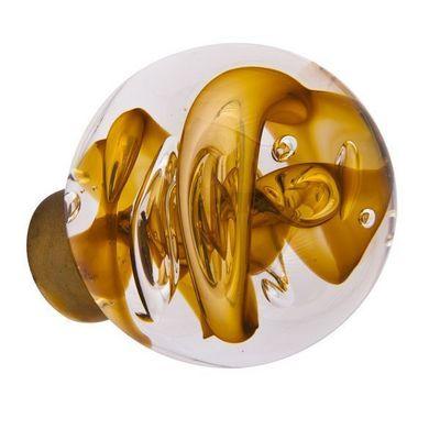 Les Verreries De Brehat - Bouton de porte-Les Verreries De Brehat-Tubes de bulles sph�rique jaune topaze