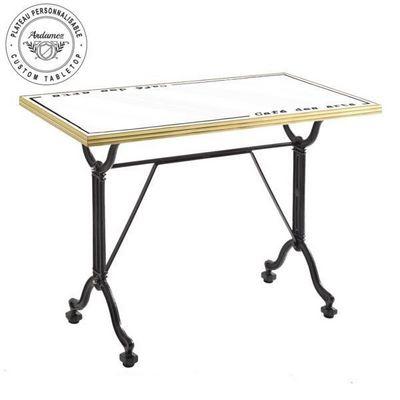 Ardamez - Table de repas rectangulaire-Ardamez-Table de repas émaillée blanc / laiton / fonte