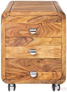 WHITE LABEL - Table de chevet-WHITE LABEL-Caisson sur roulette WOOD 3 tiroirs