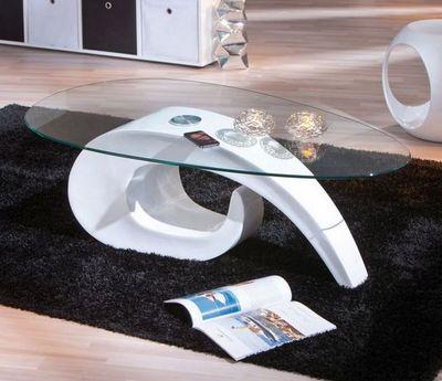 WHITE LABEL - Table basse ovale-WHITE LABEL-Table basse COISA laque blanche en verre