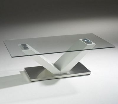 WHITE LABEL - Meuble tv hi fi-WHITE LABEL-Meuble tv design design KENNY en verre et piétemen