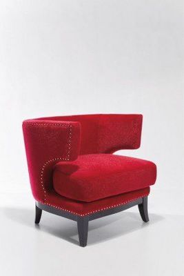WHITE LABEL - Fauteuil-WHITE LABEL-Fauteuil PRINCE velours rouge