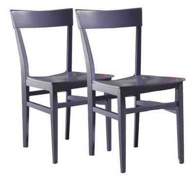 WHITE LABEL - Chaise-WHITE LABEL-Lot de 2 chaises NAVIGLI en hêtre laque lilas bril
