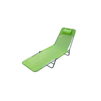 WHITE LABEL - Bain de soleil-WHITE LABEL-Transat de jardin pliable chaise longue vert
