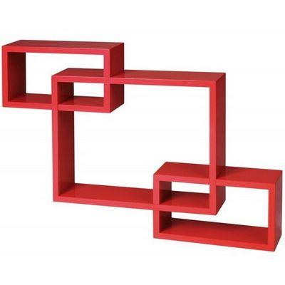 WHITE LABEL - Etagère-WHITE LABEL-Étagère murale x3 cube design rouge