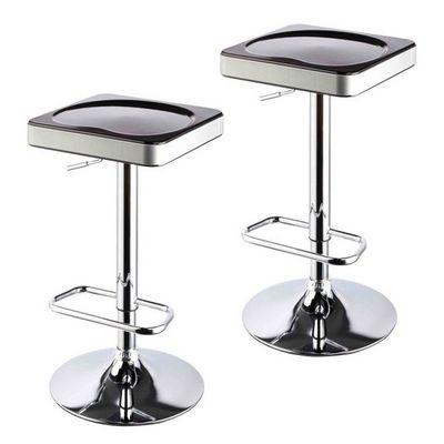 WHITE LABEL - Tabouret de bar-WHITE LABEL-Lot de 2 tabourets de bar noir et argent