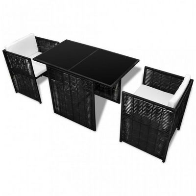 WHITE LABEL - Salon de jardin-WHITE LABEL-Salon de jardin en rotin noir