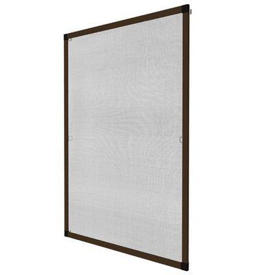 WHITE LABEL - Moustiquaire de fen�tre-WHITE LABEL-Moustiquaire pour fen�tre cadre fixe en aluminium 130x150 cm brun