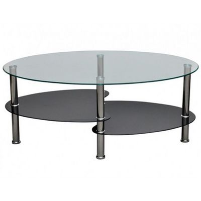 WHITE LABEL - Table basse ronde-WHITE LABEL-Table basse design noir verre