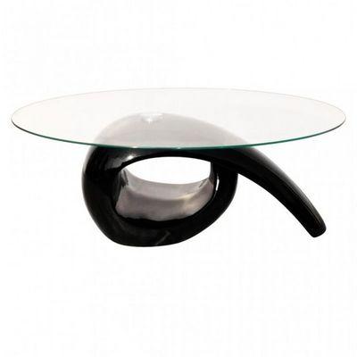 WHITE LABEL - Table basse ovale-WHITE LABEL-Table basse design noir verre