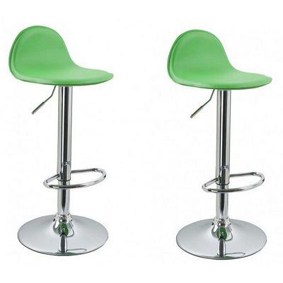 WHITE LABEL - Chaise haute de bar-WHITE LABEL-Lot de 2 Tabourets de bar vert