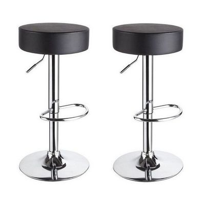 WHITE LABEL - Tabouret de bar-WHITE LABEL-Lot de 2 Tabourets de bar noir