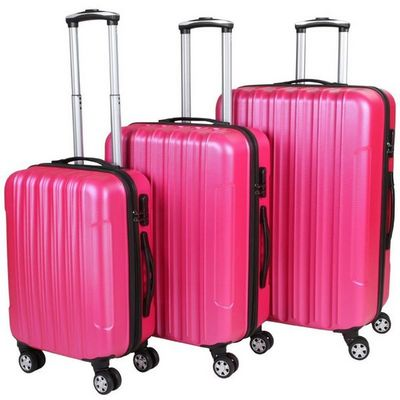 WHITE LABEL - Valise à roulettes-WHITE LABEL-Lot de 3 valises bagage rigide rose