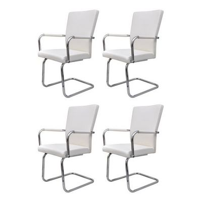 WHITE LABEL - Chaise-WHITE LABEL-4 chaises de salle � manger blanche