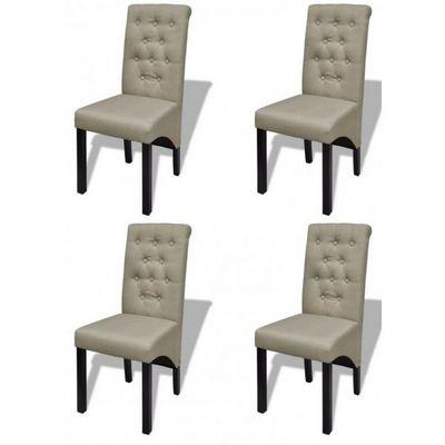 WHITE LABEL - Chaise-WHITE LABEL-4 Chaises de salle a manger beige
