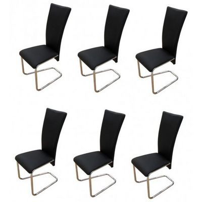 WHITE LABEL - Chaise-WHITE LABEL-6 Chaises de salle a manger noires