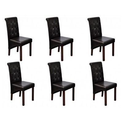 WHITE LABEL - Chaise-WHITE LABEL-6 Chaises de salle a manger marron