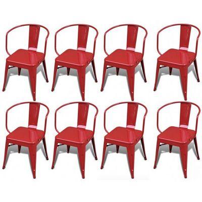 WHITE LABEL - Chaise-WHITE LABEL-8 chaises de salle à manger acier factory