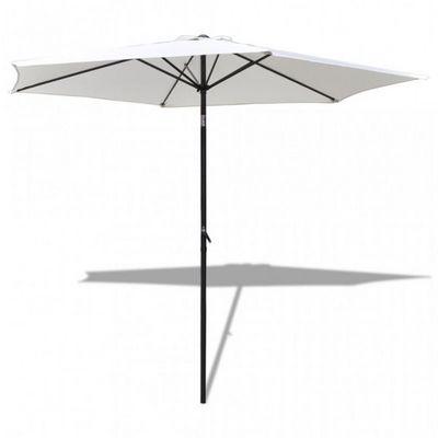 WHITE LABEL - Parasol télescopique-WHITE LABEL-Parasol de jardin manivelle Ø 3m crème