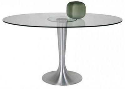 WHITE LABEL - Table de repas ronde-WHITE LABEL-Table ovale POSSIBILITA pied métal brossé