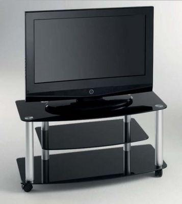 WHITE LABEL - Meuble tv hi fi-WHITE LABEL-Meuble TV EFFEL design en verre trempé coloris noi