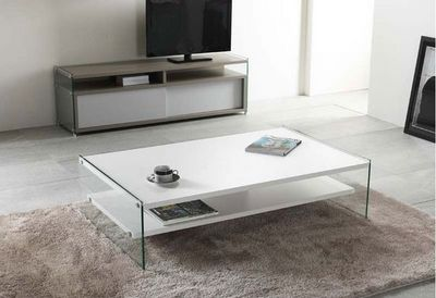WHITE LABEL - Table basse rectangulaire-WHITE LABEL-Table basse rectangle BELLA  2 plateaux blanc avec