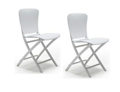WHITE LABEL - Chaise pliante-WHITE LABEL-Lot de 2 chaises pliante ZAK design blanc