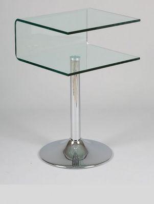 WHITE LABEL - Bout de canapé-WHITE LABEL-Guéridon CLIPPER verre transparent