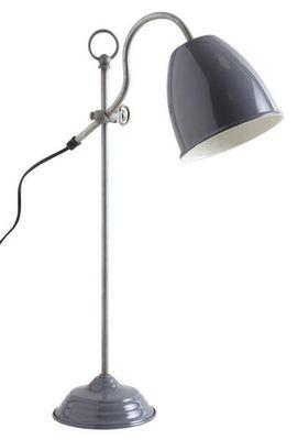 Aubry-Gaspard - Lampe à poser-Aubry-Gaspard-Lampe de bureau en métal laqué gris Gris foncé