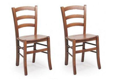 WHITE LABEL - Chaise-WHITE LABEL-Lot de 2 chaises PAESANA  design noyer assise en