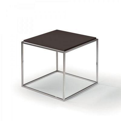 WHITE LABEL - Bout de canapé-WHITE LABEL-Bout de canapé carré MIMI chocolat