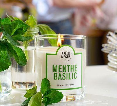 menthe basilic bougie parfum e vert la belle meche. Black Bedroom Furniture Sets. Home Design Ideas