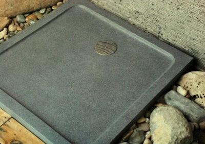 LIVING'ROC - Receveur de douche à poser-LIVING'ROC-Receveur de douche en pierre CORAIL 80x80 cm