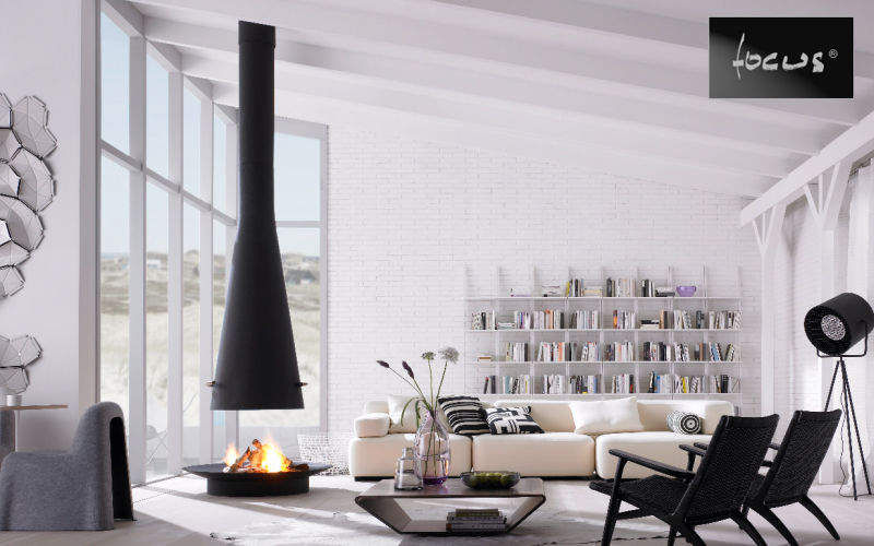 Focus Central fireplace Fireplaces Fireplace Living room-Bar | Design Contemporary