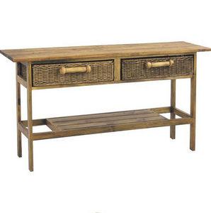 Aubry-Gaspard - console en pin rectangulaire avec 2 tiroirs en rot - Console Table