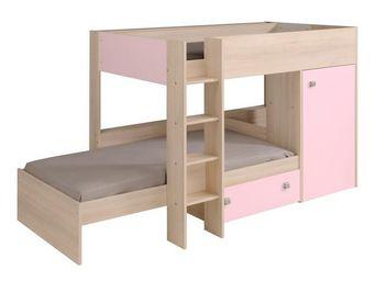 WHITE LABEL - lit superposé multifonctions acacia/rose 90*200 cm - Children Bunk Bed